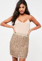 Missguided Gold Multi Sequin Front Mini Skirt, Gold