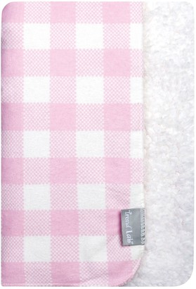 Trend Lab Pink & White Buffalo Check Flannel and Faux Shearling Baby Blanket