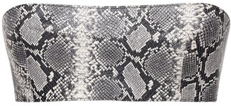 LaQuan Smith Snake Print Leather Bandeau Top