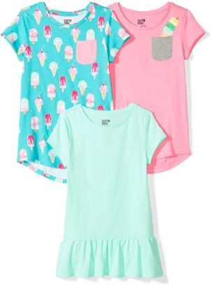Spotted Zebra Amazon Brand Toddler Girls' 3-Pack Short-Sleeve Tunic Tops