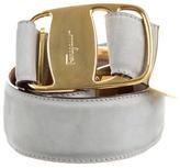 Salvatore Ferragamo Nubuck Logo-Embellished Belt
