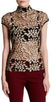 Gracia Mesh Gold Leaf Embroidered Tank