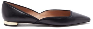 Aquazzura Maia Leather Dorsay Flats - Black