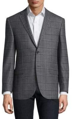 Corneliani Classic-Fit Windowpane Wool Sportcoat
