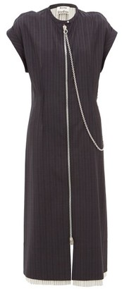 Acne Studios Di Pinstriped Wool Dress - Womens - Navy