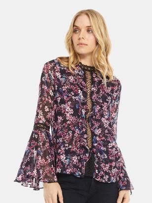 MISA Divya Bell Sleeve Lace Insert Top