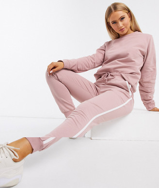 ASOS DESIGN tracksuit sweat / basic jogger with tie with contrast binding in organic cotton in blush