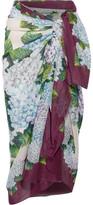 Dolce & Gabbana Floral-print Cotton-gauze Pareo - Forest green