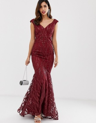 City Goddess all over lace and sequin fishtail maxi dress