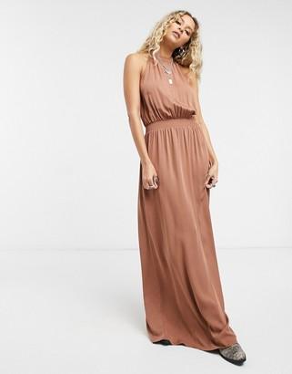 Vila racer neck maxi dress in tan