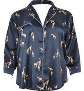 River Island Womens Plus navy giraffe print satin pajama shirt