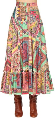 Etro Printed Poplin Midi Skirt