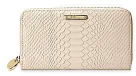 GiGi New York Women's Large Zip-Around Python-Embossed Leather Wallet