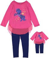 Dollie & Me Fuchsia & Navy Top Set & Doll Outfit - Girls