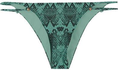 Vix Snake Piercing Printed Bikini Briefs - Turquoise