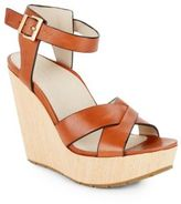 Kenneth Cole Clove Leather & Wood Platform Wedge Sandals