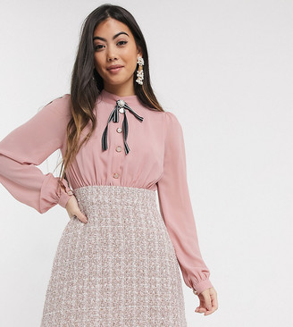 Paper Dolls Petite two in one boucle dress in pink