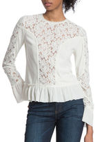 Plenty by Tracy Reese Floral Lace Long Sleeve Mixed Media Blouse