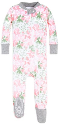 Burt's Bees Tossed Succulent Organic Baby Zip Front Snug Fit Footed Pajamas