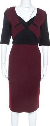 Roland Mouret Burgundy Wool Blend Embroidered Axele Dress XL