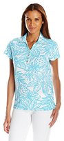 Caribbean Joe Women's Printed Birdseye Tropical Pineapple Leaf Preppy Button Collared Y Neck Short Sleeve Polo Shirt