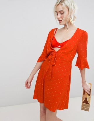 Free People All Yours Tie Waist Mini Dress-Red