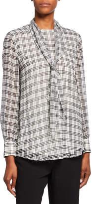 St. John Prince Of Wales Plaid-Print Tie-Neck Silk Blouse