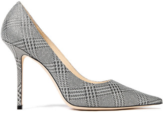 Jimmy Choo Love 100 Glittered Prince Of Wales Checked Leather Pumps