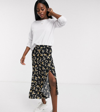 Wednesday's Girl midi skirt with asymmetric hem in ditsy floral