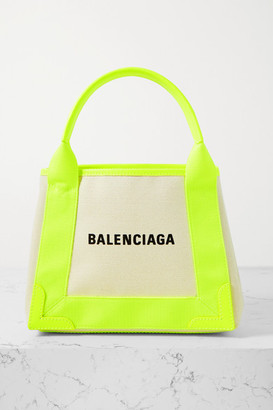 Balenciaga Navy Xs Cabas Neon Leather-trimmed Printed Canvas Tote - Beige