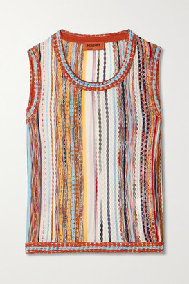 Missoni Striped Crochet-knit Cotton-blend Tank - White