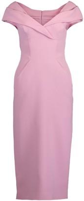 Ermanno Scervino Cap Sleeve Portrait Collar Slim Dress