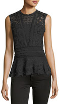 Rebecca Taylor Lace-Mix Sleeveless Peplum Top