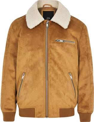River Island Boys Tan faux suede borg bomber jacket