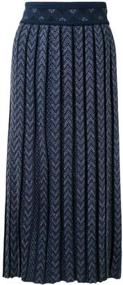 Mame Kurogouchi Chevron Knit Midi Skirt