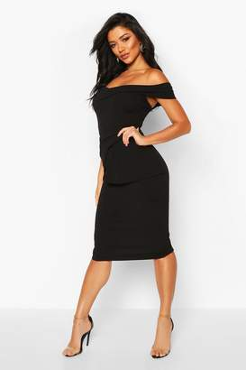 boohoo Off Shoulder Pleated Peplum Bodycon Midi Dress