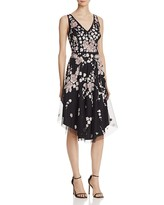 Aidan Mattox Beaded Floral Midi Dress