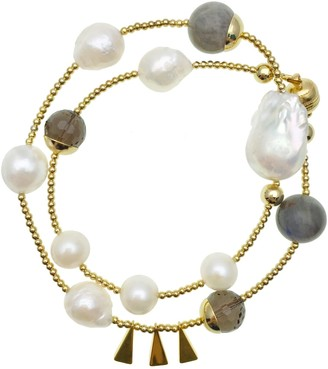 Farra Freshwater Pearls & Labradorite Double Wrapped Bracelet