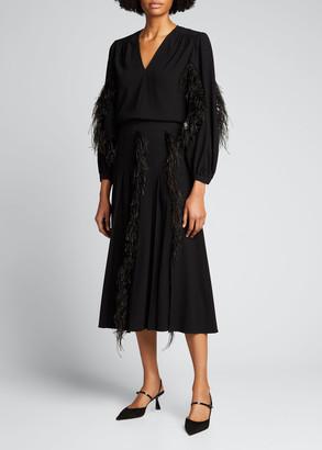 Jason Wu Feather-Trim Pleated Crepe Skirt