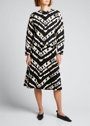 Proenza Schouler White Label Animal Jacquard Knit A-Line Skirt