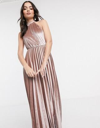 Asos Design DESIGN halter pleated waisted maxi dress in velvet-Beige