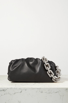 Bottega Veneta The Pouch Chain-embellished Gathered Leather Clutch - Black