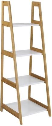 Lloyd Pascal Denver Bamboo 4 Tier Shelf Unit - Natural & White