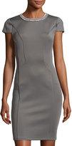 Neiman Marcus Embellished-Neck Cap-Sleeve Dress, Gray