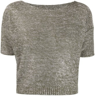 Roberto Collina Metallic Knitted Cropped Top
