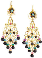 Jose & Maria Barrera Dyed Jade & Crystal Filigree Chandelier Earrings
