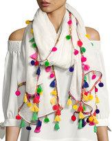 Neiman Marcus Multicolor Pompom Tassel Scarf, White