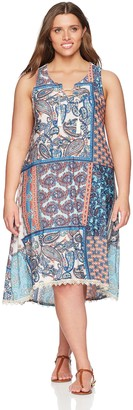 One World ONEWORLD Women's Plus Size Sleeveless Lace Up Printed Dress