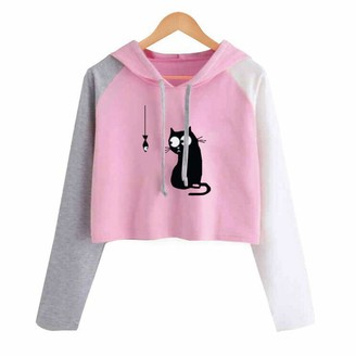Scbfdi Ladies Fashion Cute Floral Print Hit Color Hoodie Long Sleeve Short Slim Fit Sweatshirt Personality Style Pullover Top
