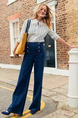 Boden Womens Denim Sailor Wide Leg Jeans - Blue